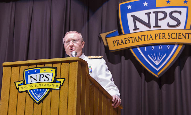 Vice Adm. Frank C. Pandolfe, Assistant to the Chairman of the Joint Chiefs of Staff, addresses Spring Quarter graduates during NPS' latest commencement ceremony, June 16. As Assistant to the Chairman of the Joint Chiefs of Staff, Pandolfe represents the chairman in interagency matters, focusing on International relations and politico-military concerns, and also acts as military representative to the Secretary of State.
