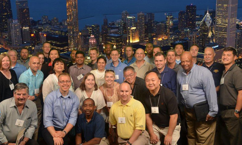 Members of the SEM-PD21 degree program gather for a photo during an industry visit to Chicago. SEM-PD21 students visit leading industries in key locations to learn about best practices, new products development, and acquisitions processes.