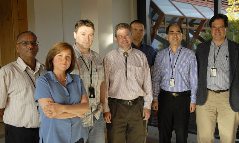 Center for Materials Research faculty, from left to right, Research Professor Sarath Menon, Associate Professor Claudia Luhrs, Assistant Professor Sebastian Osswald, Associate Professor Luke Brewer, Assistant Professor Dragoslav Grbovic, Center Director Distinguished Professor Young Kwon, and Professor John Phillips.