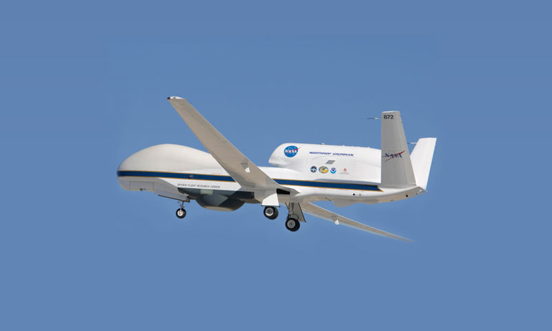 One of NASA's Global Hawk unmanned aircraft is pictured after takeoff from Edwards Air Force Base, Calif.