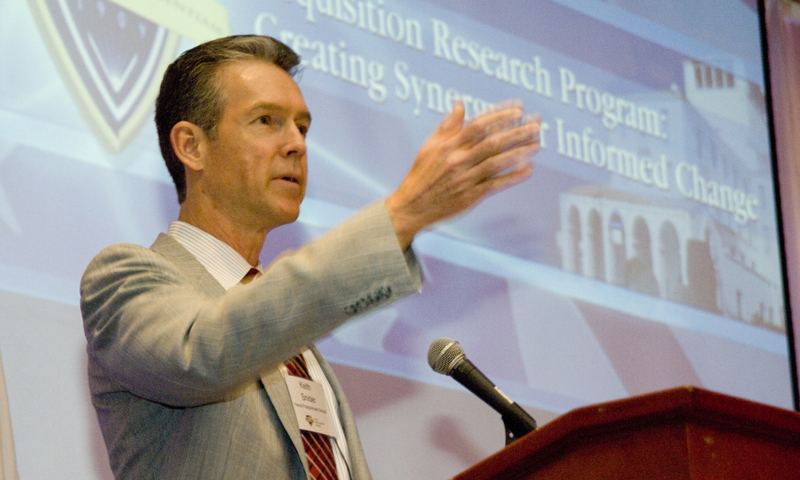 Dr. Keith Snider, of Naval Postgraduate School's Graduate School of Business and Public Policy delivers remarks during NPS' 9th annual Acquisition Research Symposium, held May 16 -17.
