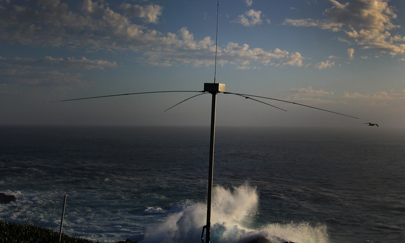 A high-frequency radar system stands tall over the Granite Canyon Marine Pollution Studies Laboratory. The system is one of nine that NPS faculty oversee on the California coast. The entire radar network system, the largest of its kind in the world, gathers and wirelessly transmits data on current activity back to researchers.