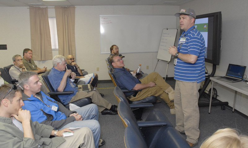 TNT RELIEF Director, NPS Information Sciences Associate Professor Dr. Ray Buettner, welcomes attendees from around the country to RELIEF 11-4, August 3-5 at Camp Roberts.