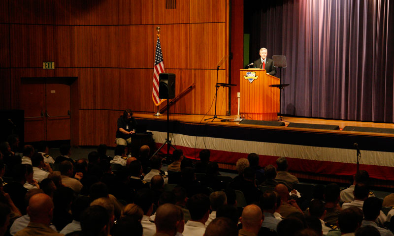 Secretary of the Navy Ray Mabus addresses university students, faculty and staff in King Auditorium, Aug. 29, announcing the establishment of several new educational programs dedicated to energy technology and policy.