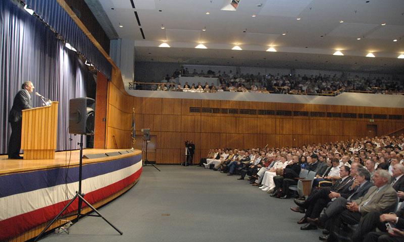U.S. Secretary of Defense Leon Panetta addresses students, faculty and staff in a standing-room-only King Auditorium during his Secretary of the Navy Guest Lecture, Aug. 23 on the NPS campus.