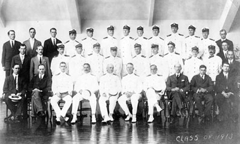 U.S. Naval Academy Postgraduate Department class of 1913 … Professor Ralph Root, the Department's first civilian faculty member after whom Root Hall is named, is in the second row, far left.