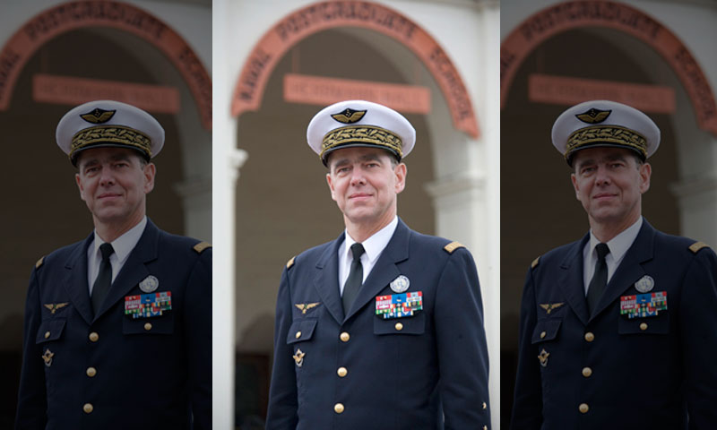French Air Force General Stephane Abrial stands outside Herrmann Hall during his visit to Monterey.