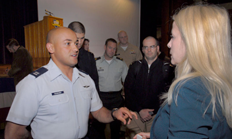 NPS student, U.S. Air Force Capt. Jesus Raimundi, III, a Cyberspace Operations Defense officer, discusses systemic problems with acquisitions and information flow between cybersecurity professionals and top decision makers in the DoD.