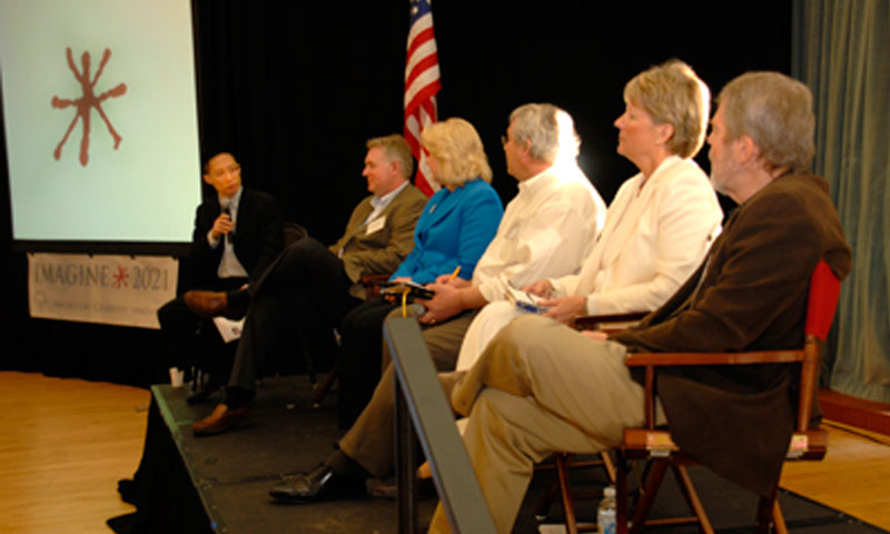 """Facilitator Eric Liu (far left) engages panelists in the """"Imagination Conversation"""" on Feb 1. Panelists included (from left) Glen Woodbury, Dr. Nancy Kotowski, Dennis Donahue, Susan Barich, and Ted Lewis."""