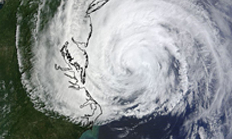 A MODIS image captured from NASA's Terra satellite on Friday, September 3, 2010 at 12:04 p.m. EDT of Hurricane Earl off the Mid-Atlantic. Hurricane Earl developed into a category four storm and was one of four named storms studied during PREDICT research. (Photo courtesy of NASA/Goddard Direct Readout Lab).
