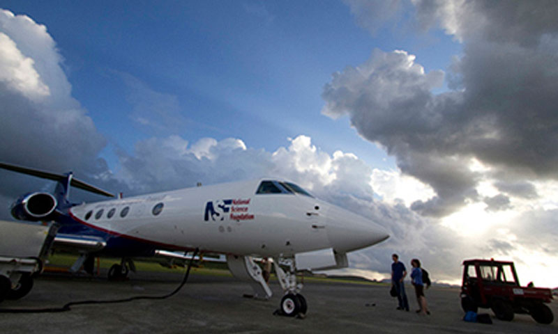 The NSF/NCAR Gulfstream V research aircraft prepares for a data collection flight on St. Croix in the U.S. Virgin Islands.