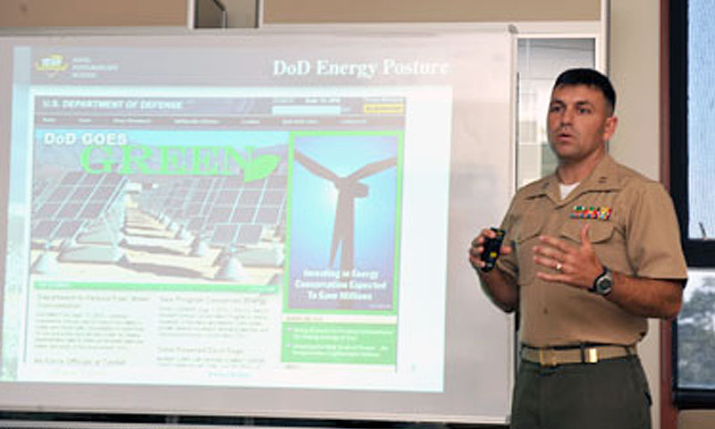 Marine Corps Capt. Brandon gives his energy presentation to students and staff.