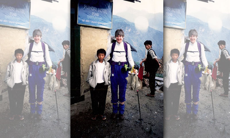 Dhyan (now Dan) Rai, 12, left, with his to-be 'American Mom' Anne Knoche the morning after he brought a lantern to the Knoches' room in the 'Tea House' where they stayed the night while on a trek through the high Himalayas.