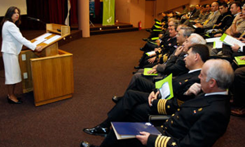 Chilean Under Secretary of the Navy Carolina Echeverria addresses the opening session of the Naval Operations Research Workshop held in Valparaiso, Chile.