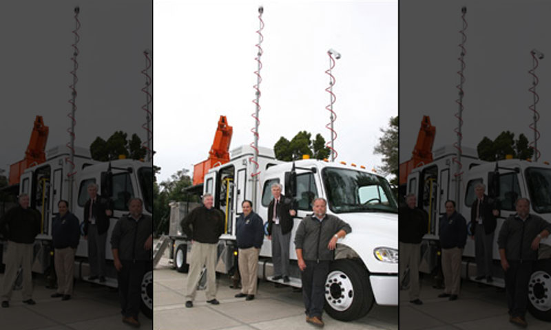The NPS MWR-05XP Mobile Weather Radar team, from left, are CIRPAS Director Bob Bluth, Ivan PopStefanija of Prosensing, Inc., Professor Jeff Knorr, and Radar Lab Director Paul Buczynski.