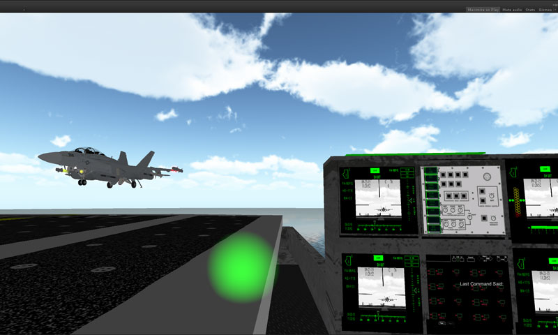 A Landing Signal Officer guides an aircraft to landing as part of a virtual reality trainer developed by Lt. Clay Greunke for his NPS graduate thesis. Photo courtesy of MOVES Institute.