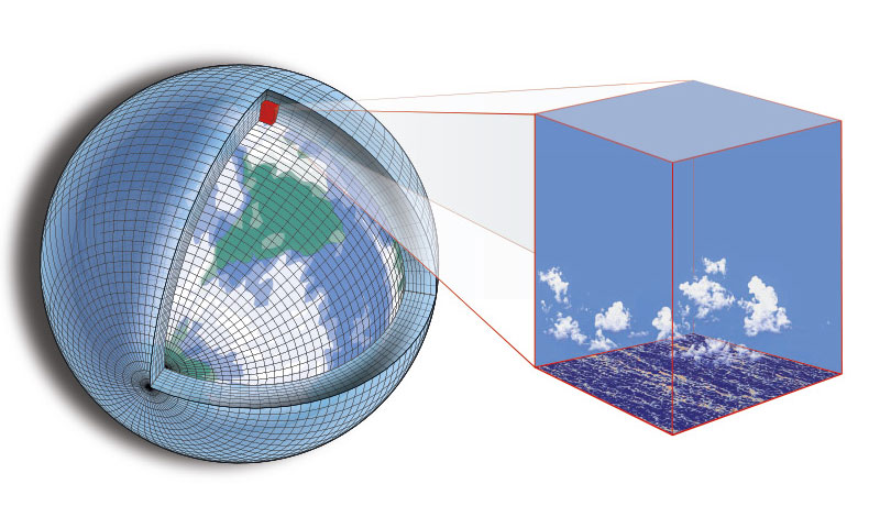 n artist's representation of the way climate models parse the globe into a grid.