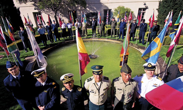 NPS campus international students with flags