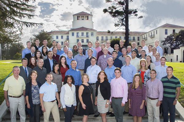 Group photo: The latest cohort of Naval Postgraduate School (NPS) Executive Master of Business Administration (EMBA) students.
