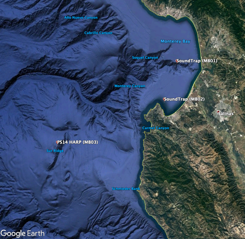 Map showing monitoring locations near Monterey Bay
