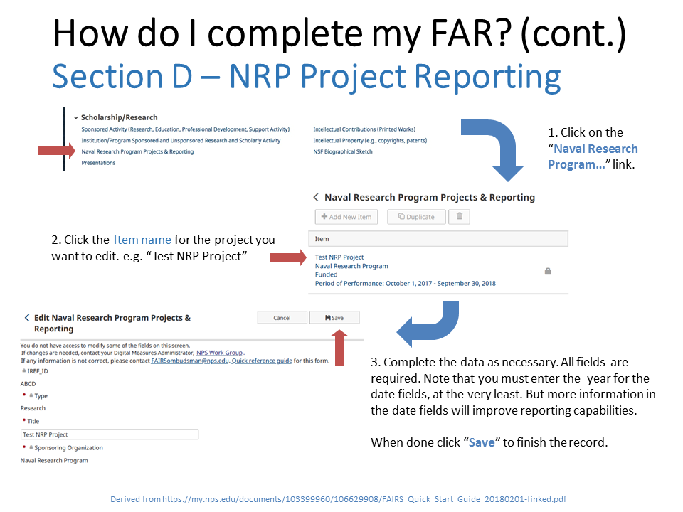 NRP FAIRS screen instructions