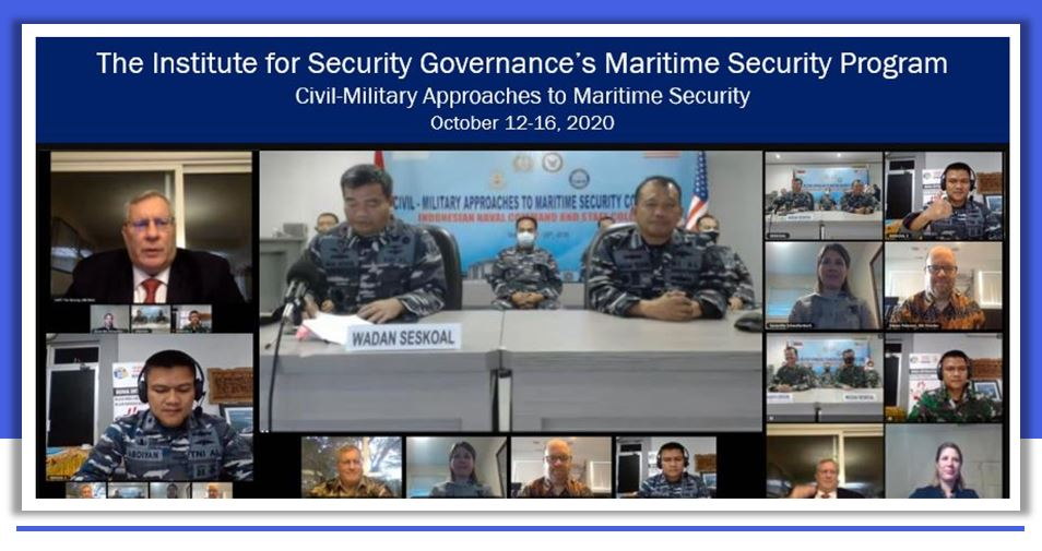 Presentation screen with slide title in white on blue text. With a shot of video sharing screens of participants in squares.