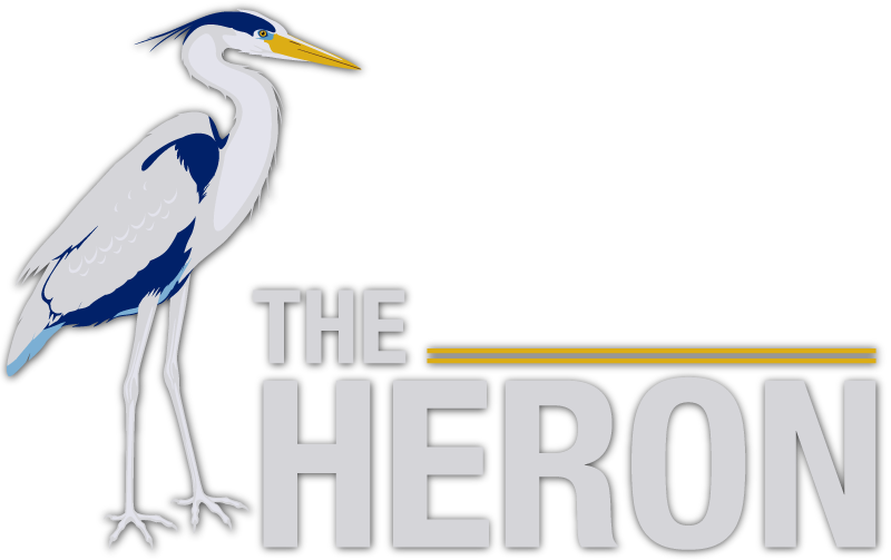 Graphical blue heron next to the words