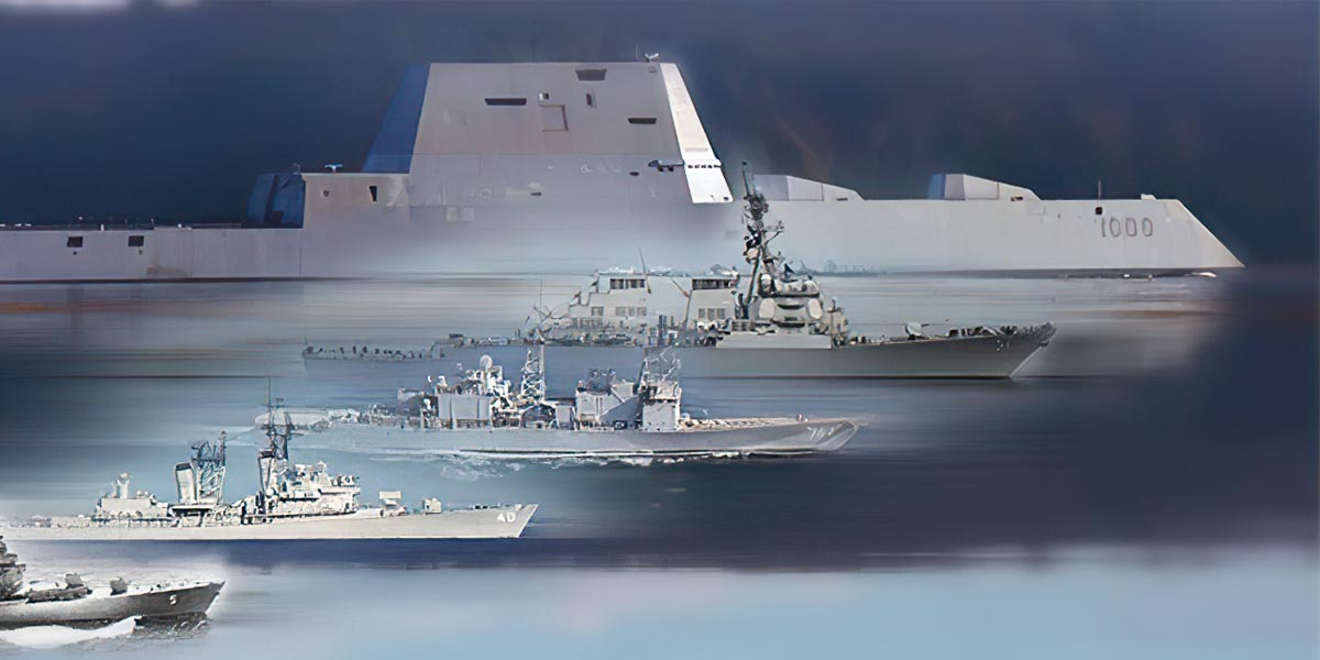 Stylized image of USS Zumwalt with other NAVY ships.