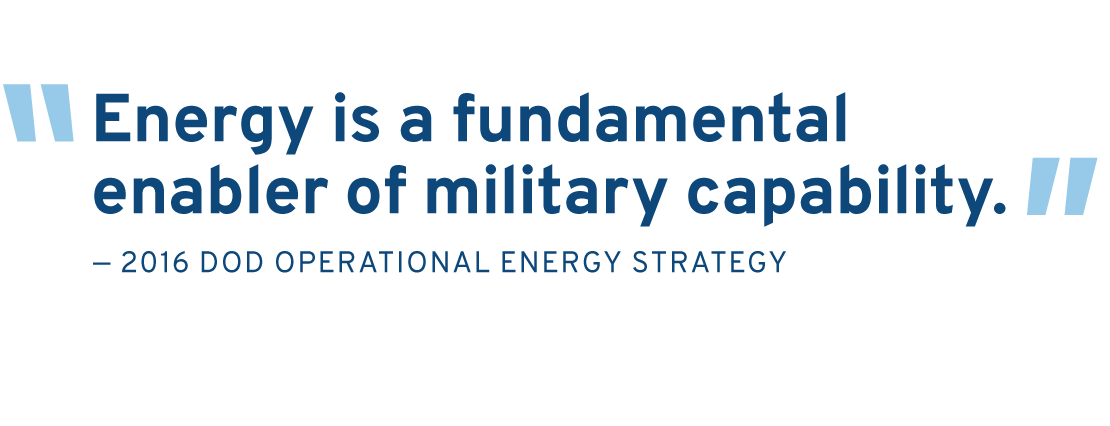 Pullquote from 2016 DOD Operational Energy Strategy: Energy is a fundamental enabler of military capability.