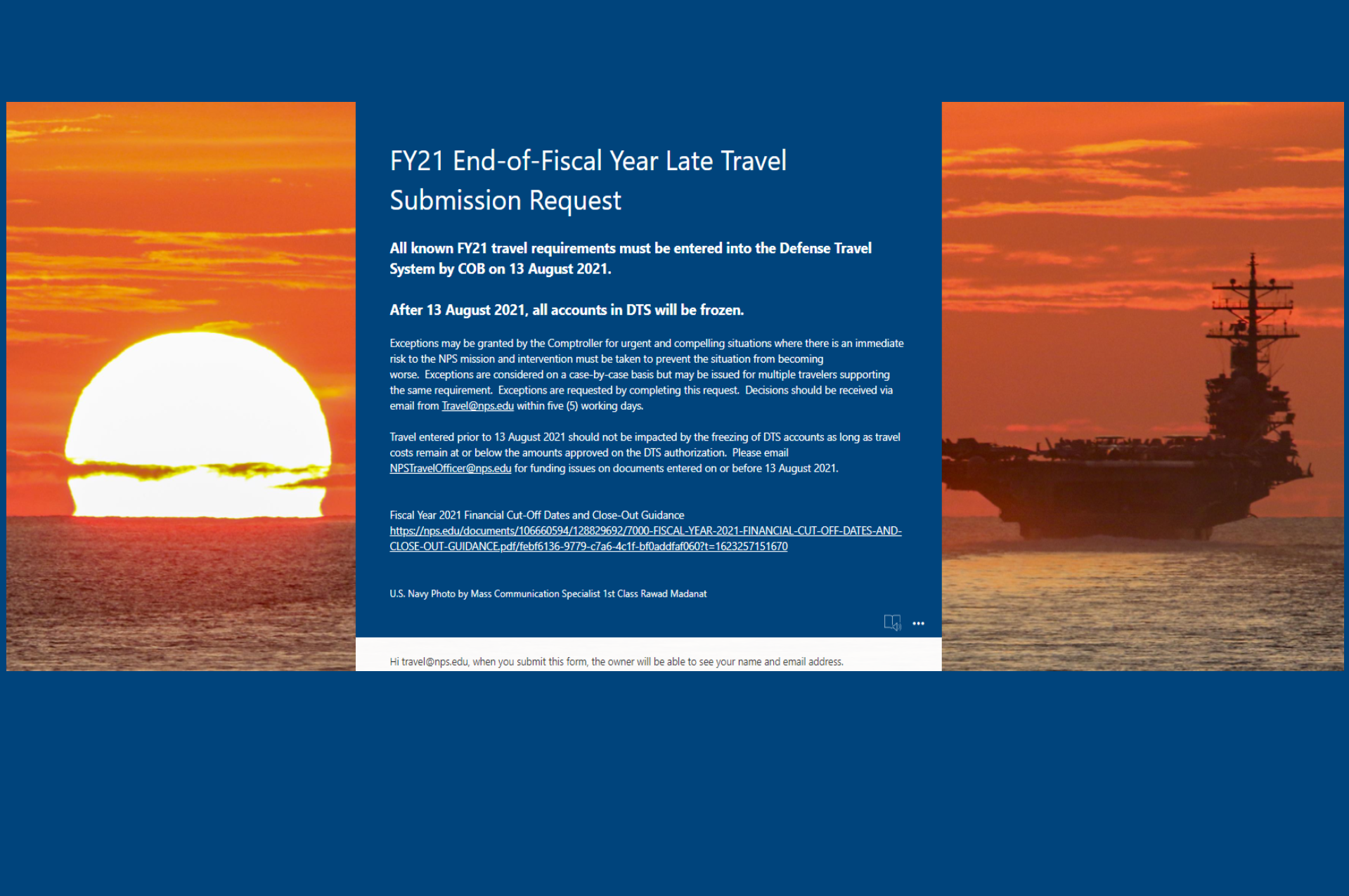 FY21 End-of-Fiscal Year Travel Cut-off 13 August